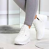 Высокие белые демисезонные женские кроссовки на флисе, фото 4