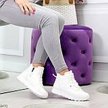 Высокие белые демисезонные женские кроссовки на флисе, фото 5