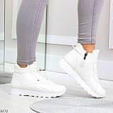 Высокие белые демисезонные женские кроссовки на флисе, фото 6