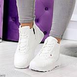 Высокие белые демисезонные женские кроссовки на флисе, фото 7