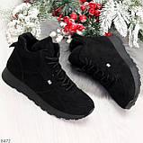 Высокие черные замшевые демисезонные женские кроссовки на флисе, фото 2