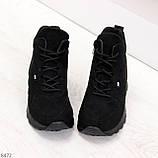 Высокие черные замшевые демисезонные женские кроссовки на флисе, фото 4