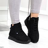 Высокие черные замшевые демисезонные женские кроссовки на флисе, фото 5