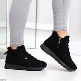 Высокие черные замшевые демисезонные женские кроссовки на флисе, фото 6