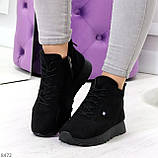 Высокие черные замшевые демисезонные женские кроссовки на флисе, фото 8