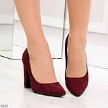 Стильные молодежные бордовые женские замшевые туфли на устойчивом каблуке, фото 6