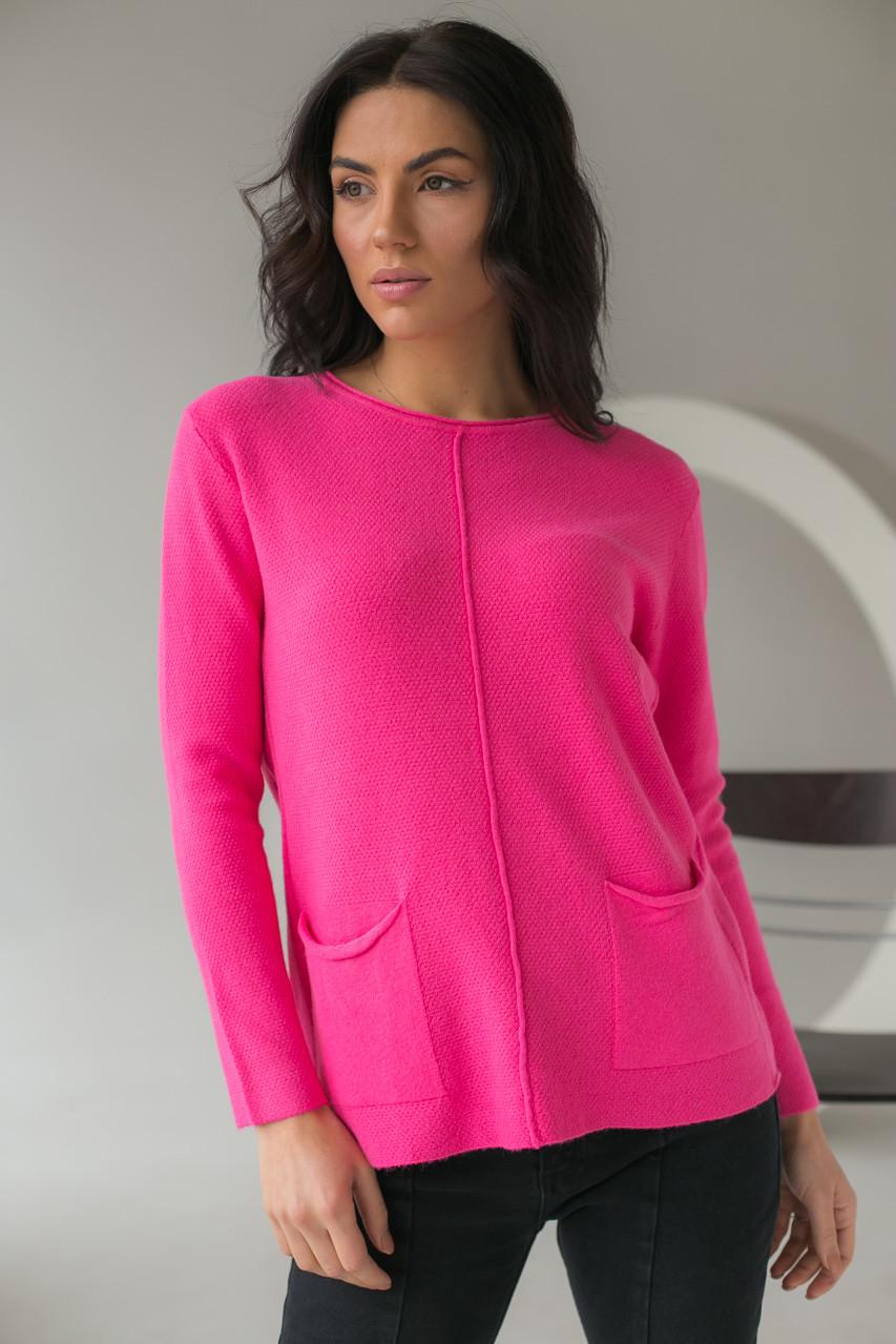 Джемпер с накладными карманами P-M - розовый цвет, L/XL (есть размеры)