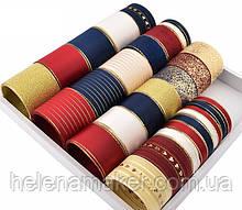 Набор лент в красных и синих тонах с золотом (лента атласная, репсовая, органза, парча) - 24 шт по 1 ярду