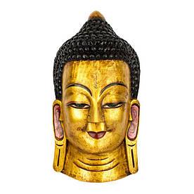 Маска Непальская Настенная Интерьерная Будда Цельный массив дерева 49х25х15,5 см Желтый (19050)
