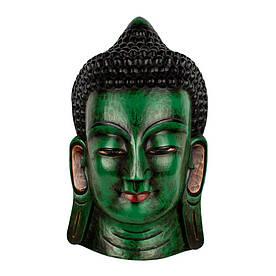 Маска Непальская Интерьерная Настенная Будда Цельный массив дерева 50х29х16,5 см Зеленый (08884)