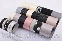 Набор лент в черных и серых тонах (лента атласная, репсовая, органза, кружево) - 24 шт по 1 ярду