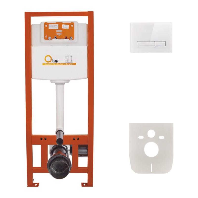 Инсталляция для унитаза Q-tap Nest комплект 4 в 1 с панелью смыва PL M08GLWHI