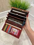 Женский кожаный кошелёк Dr. Bond Business с визитницей красный КБВ852, фото 6