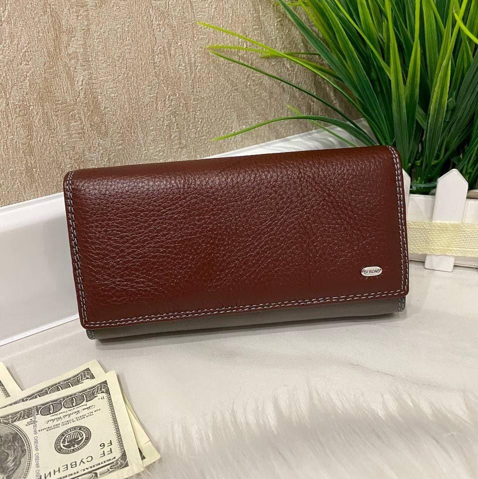 Женский кожаный кошелёк Dr. Bond Business с визитницей бордовый КБВ853