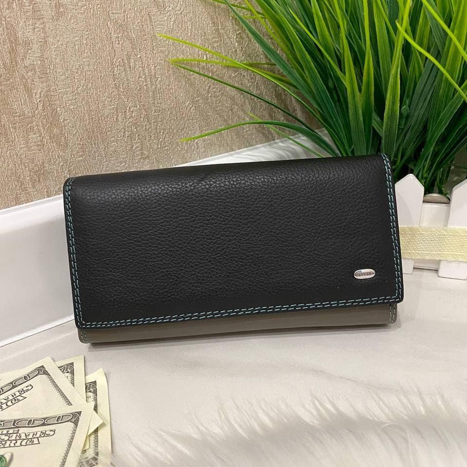 Женский кожаный кошелёк Dr. Bond Business с визитницей черный КБВ854