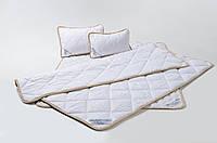 Комплект із Вовни Мериносів Білий Класичний Двохспальний (Ковдра 180х200+Подушка 40х60 2шт.), фото 1