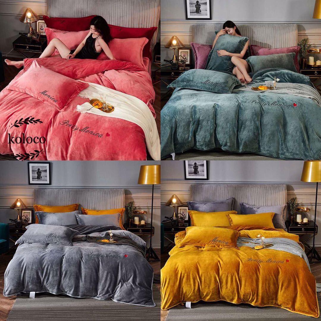 Комплект постельного белья Велюровый Моника евро размер