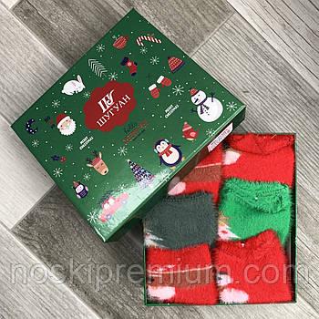 Новогодние махровые детские носки шерсть норки Шугуан в коробке, на 0-3 года, ассорти, С383