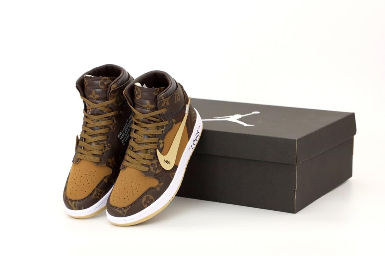 Женские высокие кроссовки Nike J0rdan 1 Retro x LV x 0ff white(копия)