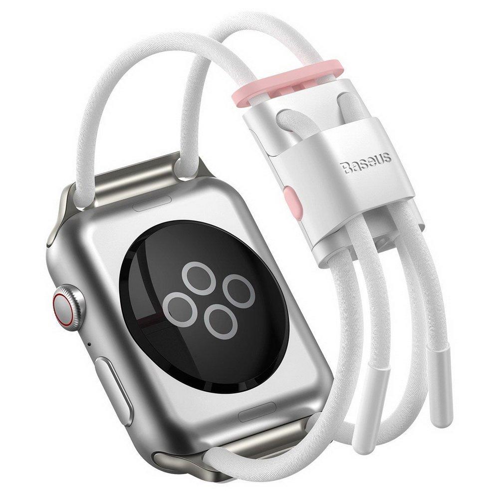 Ремешок Baseus Let's Go Cord Watch Strap белый + розовый для Apple Watch Series 3/4/5 38mm/40mm