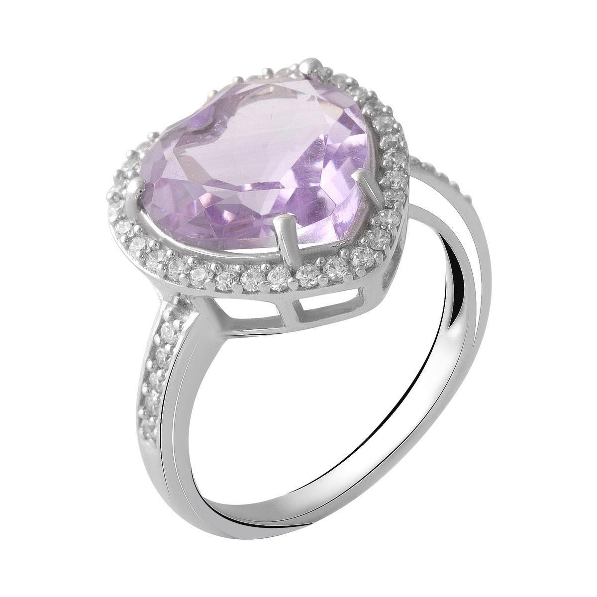 Серебряное кольцо DreamJewelry с натуральным аметистом 4.58ct (2048756) 18 размер