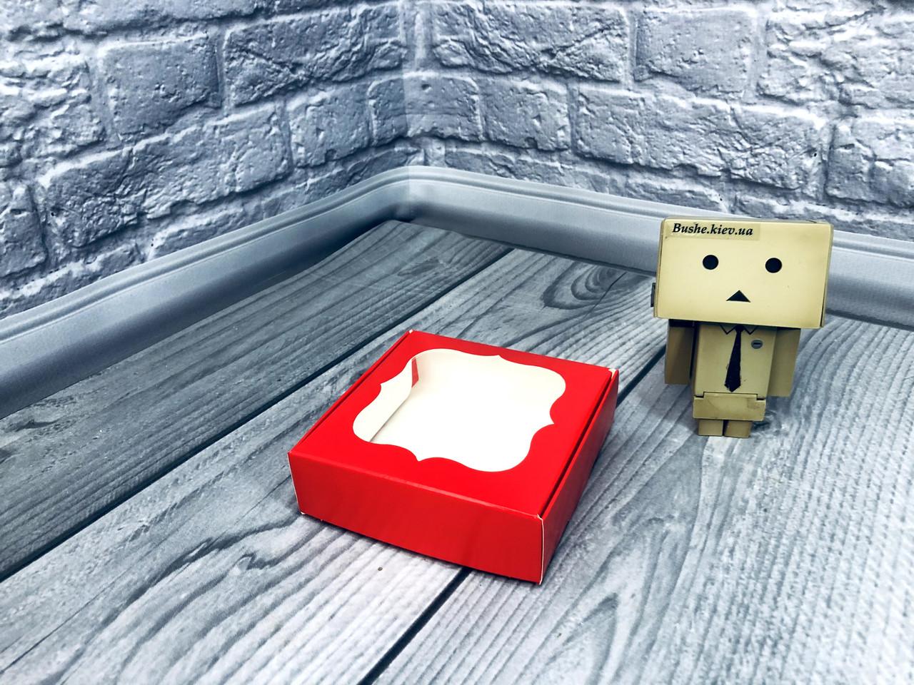 *10 шт* / Коробка для пряников / 100х100х30 мм / печать-Красный / окно-обычн