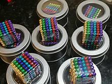 Магнитный конструктор, неокуб, 216шт*5мм магнитные шарики, neocube, цвет - радужный, Антистресс игрушки