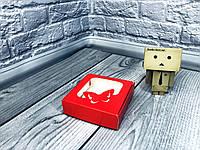 *10 шт* / Коробка для пряников / 100х100х30 мм / печать-Красный / окно-бабочка, фото 1
