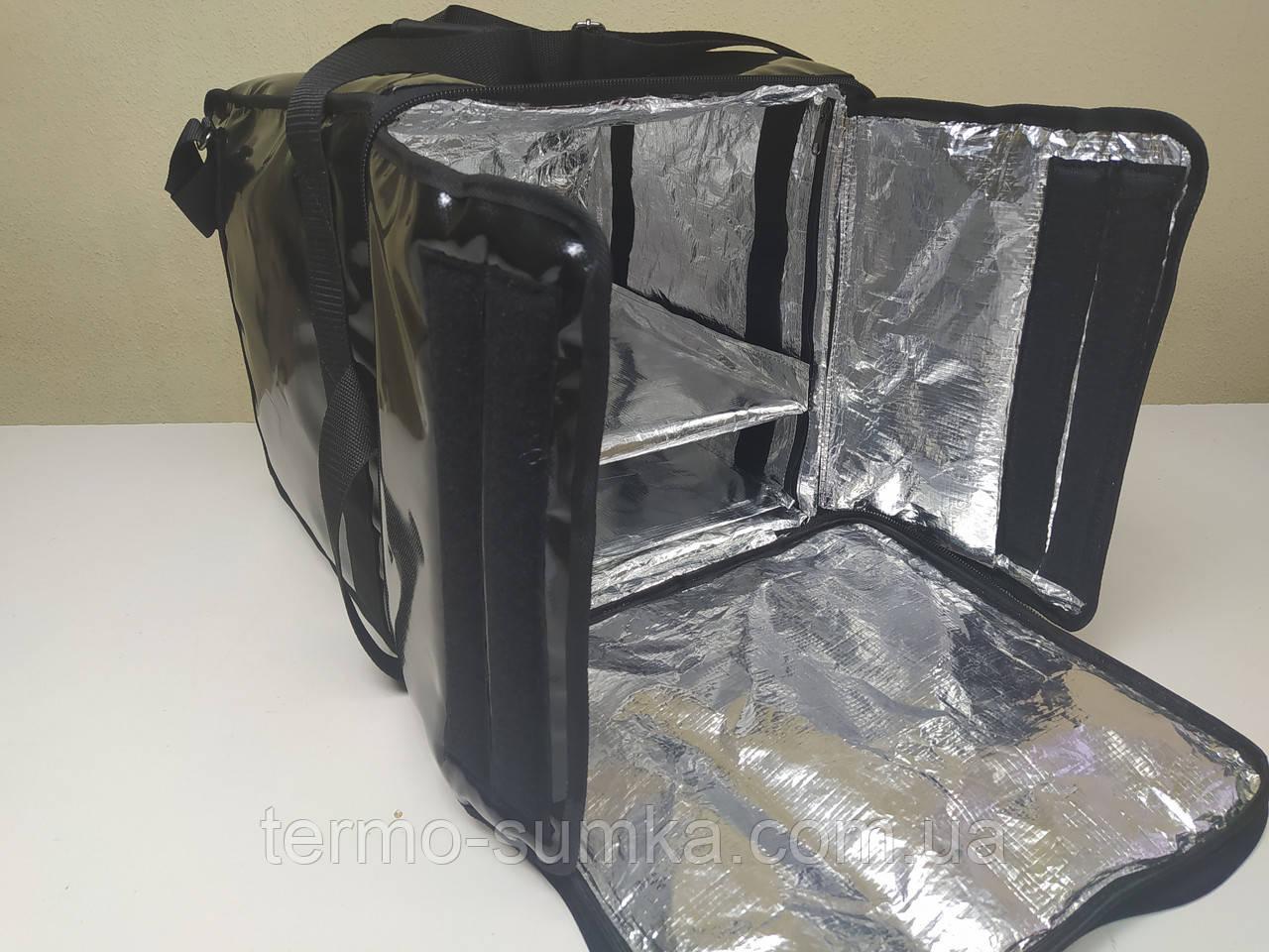 Каркасная термосумка  для доставки пиццы, еды, суши с полочкой из ПВХ ткани. Застежка молния. Чёрная