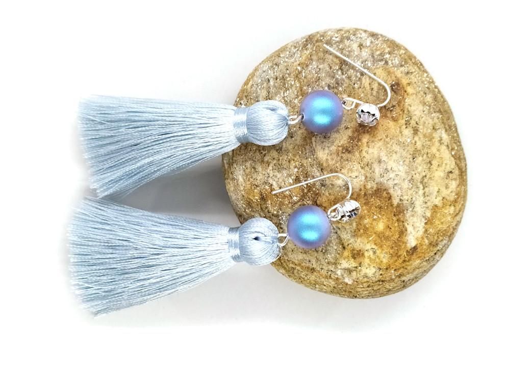 Блакитна іскра 03 - сережки з пензликами для дівчат