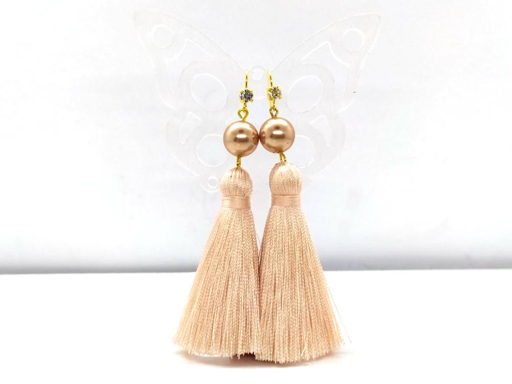Кавовий нюд 04 - сережки з пензликами для дівчат
