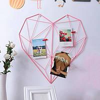 Настенный органайзер Мудборд (moodboard) розовый сердце