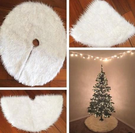 Новорічний білий килимок під ялинку - діаметр 73-75 см