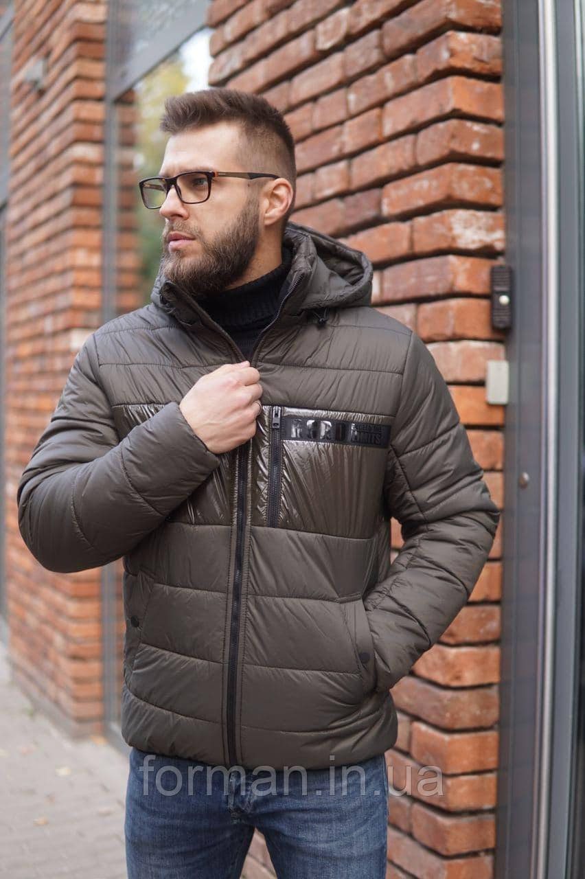 Мужская зимняя куртка короткая со съёмным капюшоном RICCARDO хаки