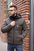 Мужская зимняя куртка короткая со съёмным капюшоном RICCARDO хаки, фото 1