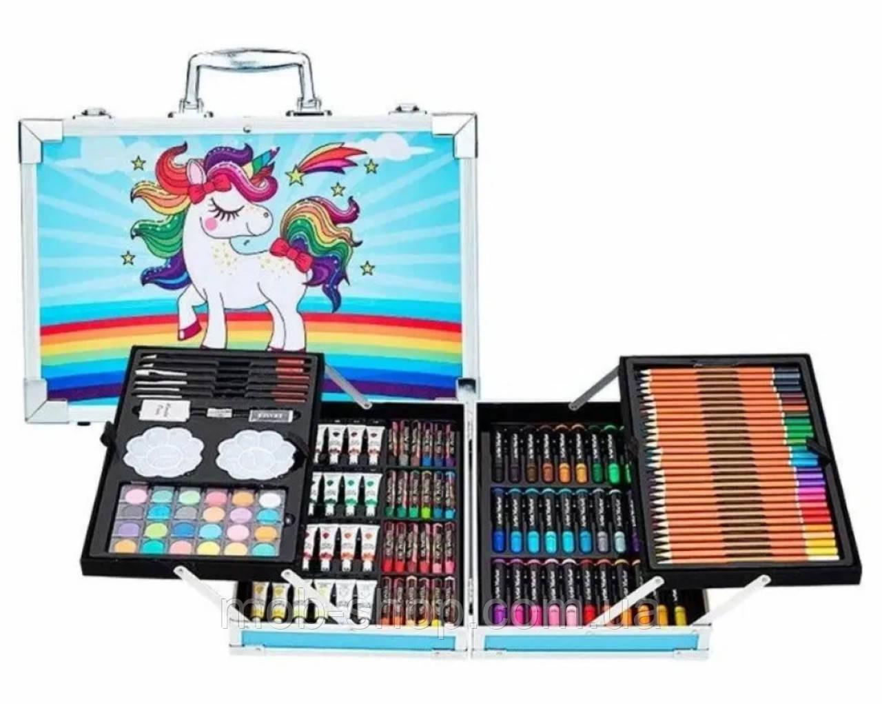 """Художественный набор для детского творчества в алюминиевом чемодане """"Единорог"""" 145 предметов Голубой/Розовый"""