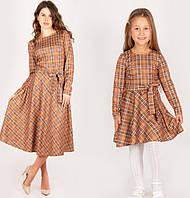 Платье для девочек в клетку в стиле Family look 110,116,122,128,134,140см