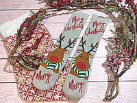 🎄 Парные серые новогодние носки с оленями MERRY CHRISTMAS 36-41 размер LEONORA, фото 1