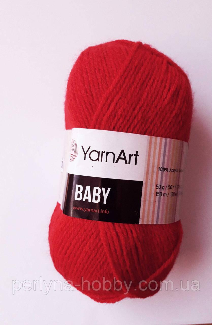 Пряжа акриловая детская  Baby YarnArt, 100% акрил   50 гр., 150 м,  Колір 576 , червоний