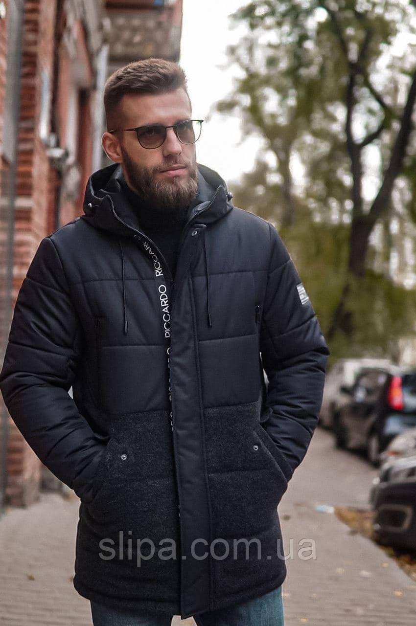 Мужская зимняя длинная куртка с капюшоном RICCARDO чёрная