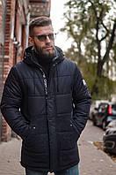 Мужская зимняя длинная куртка с капюшоном RICCARDO чёрная, фото 1