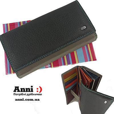 Кожаный женский кошелек с визитницей  DR. BOND WR46 Black