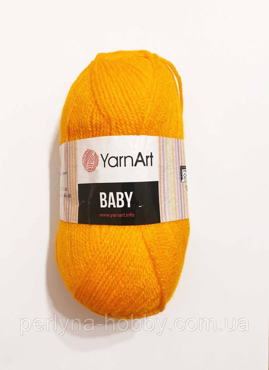 Пряжа  акриловая детская Baby YarnArt, 100% акрил   50 гр., 150 м,  Колір 586 , жовтий насичений