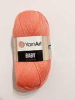 Нитки для в'язання пряжа акрилова дитяча  Baby YarnArt, 100% акрил   50 гр., 150 м,   622 , персиковий насичений