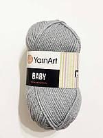 Пряжа  акриловая детская Baby YarnArt, 100% акрил   50 гр., 150 м,  Колір 3072, сіро-голуба