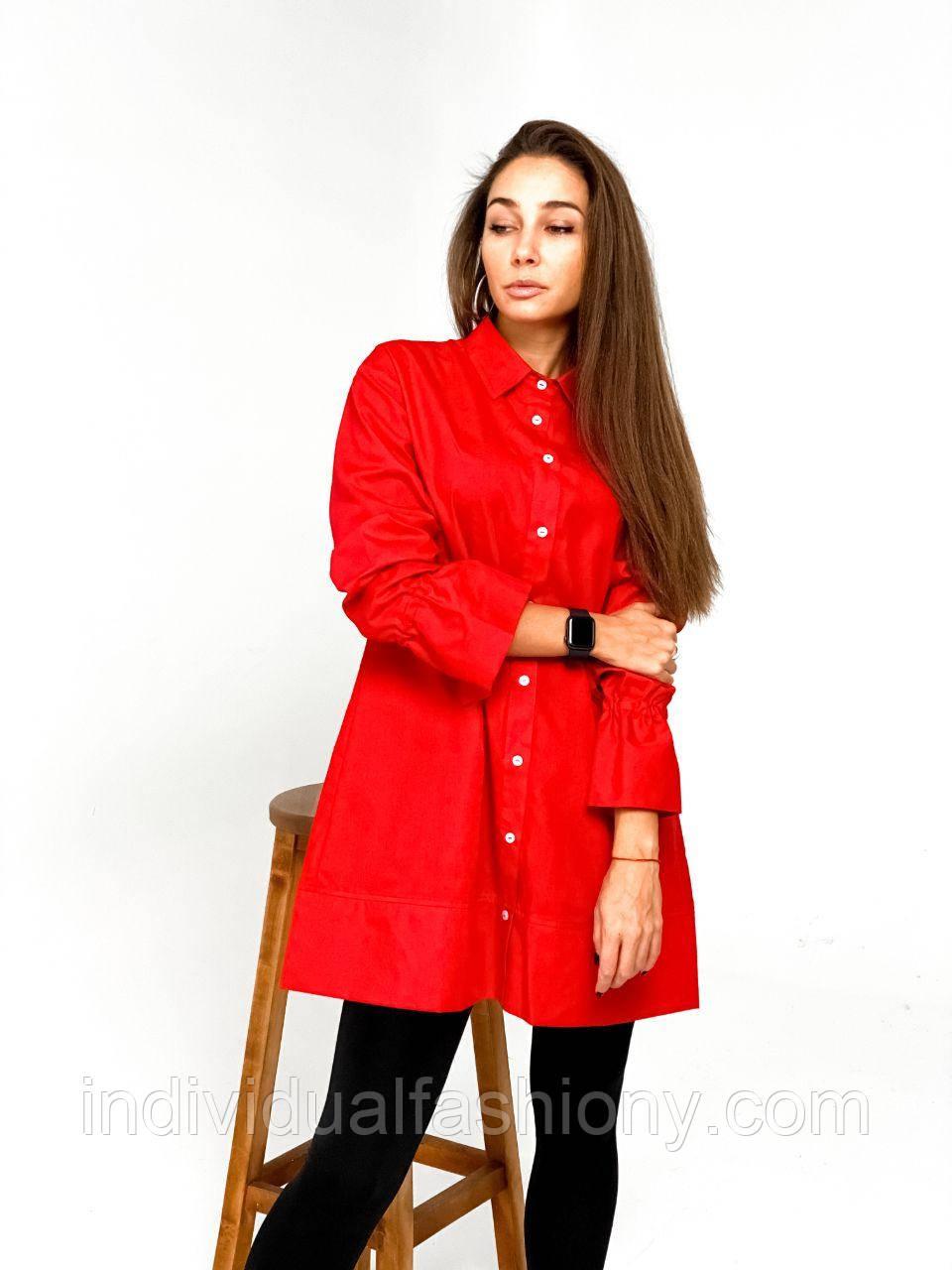 Платье - рубашка с воланами на рукавах Красный