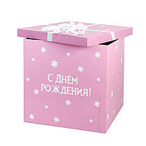 """Коробка-сюрприз Холодне серце з білим написом """"З Днем Народження"""" і зв'язкою з Ельзою, фото 2"""