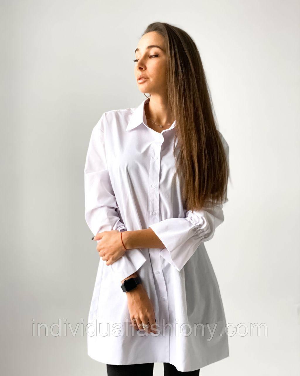 Платье - рубашка с воланами на рукавах Белый