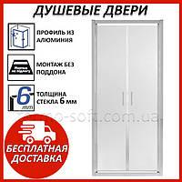 Душевая дверь в нишу Qtap Gemini CRM209.C6. Стеклянные двери для душа и душевой кабины распашные. Кредит