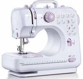 Швейная машинка с ножным приводом SEWING MACHINE 705, 12 функций, белая с розовым